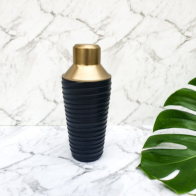 LEATHER AND BRASS COCKTAIL SHAKER