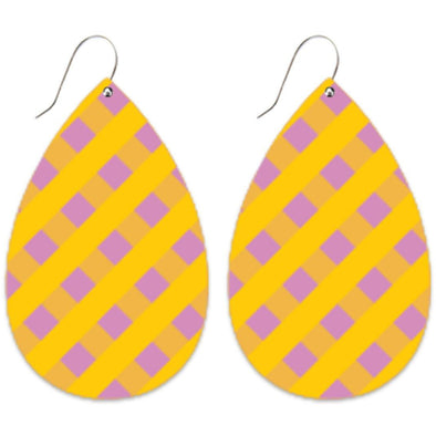 LILAC STRIPED GINGHAM BIG TEAR DROP EARRINGS