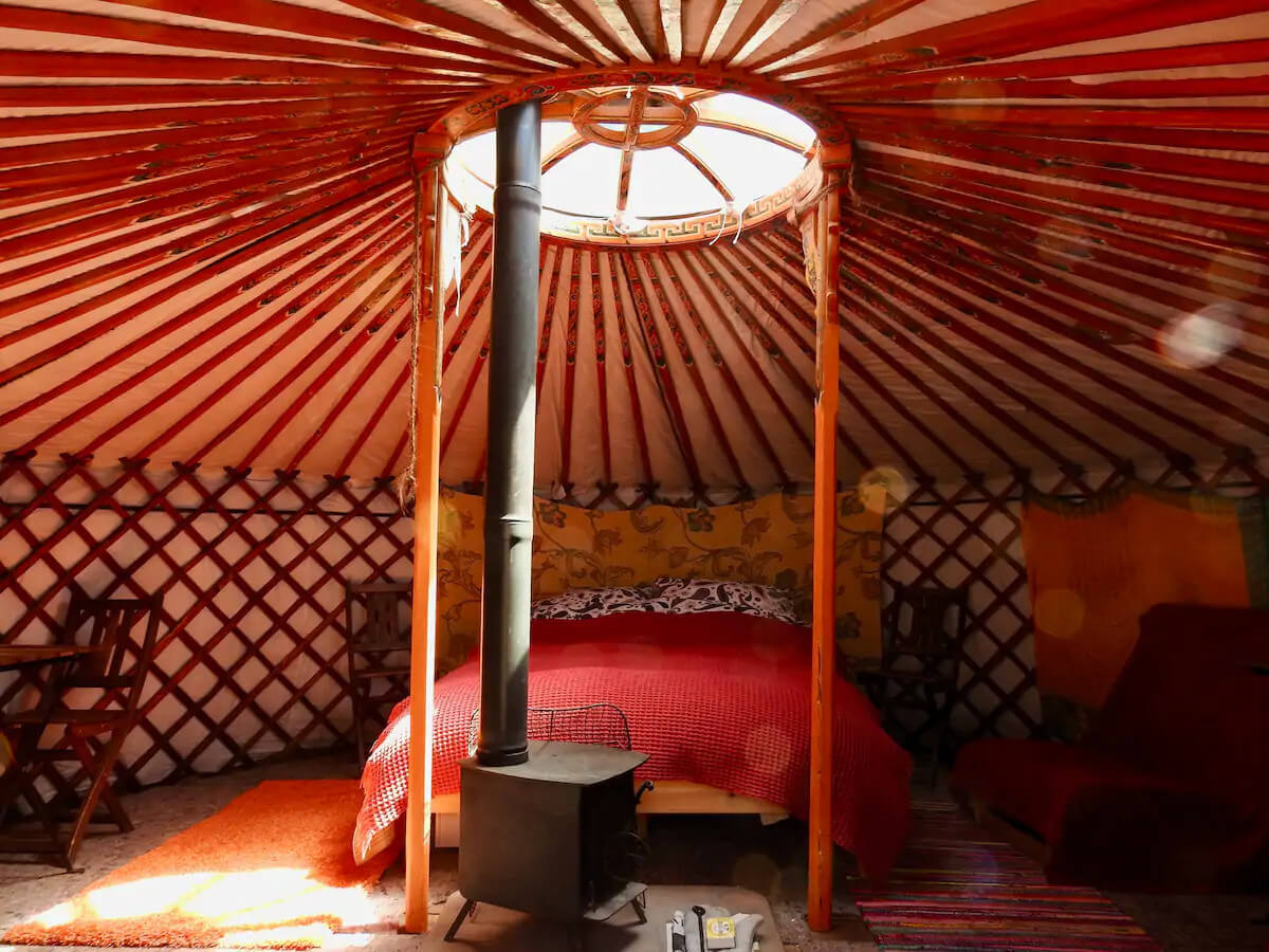 Eco retreats - Sustainable holiday accommodation - Inside the Moonlight Yurt