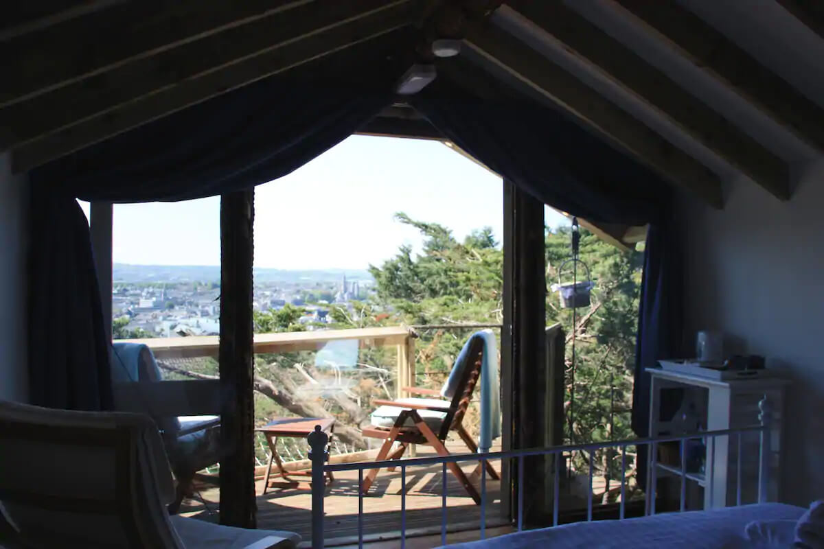 Eco retreats - Sustainable holiday accommodation - View of Cork city centre from treehouse