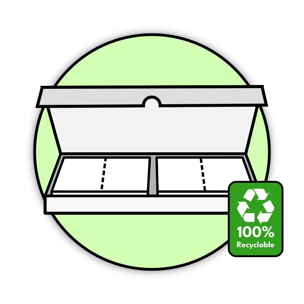 Reco laundry detergent sheets box with a recycling logo