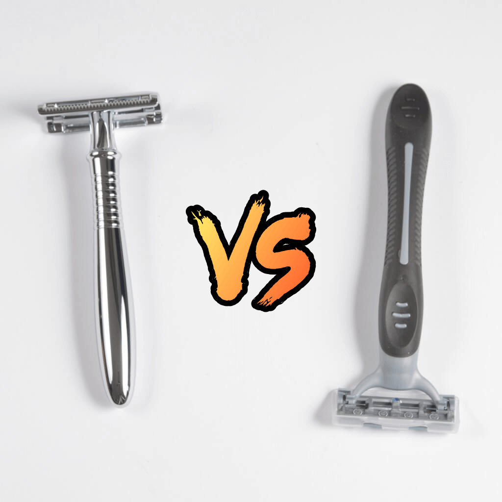 Reco 3R safety razor next to a plastic disposable razor