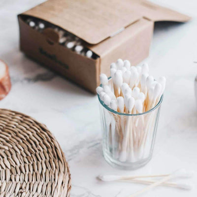 Bamboo cotton buds by Bambaw in glass jar
