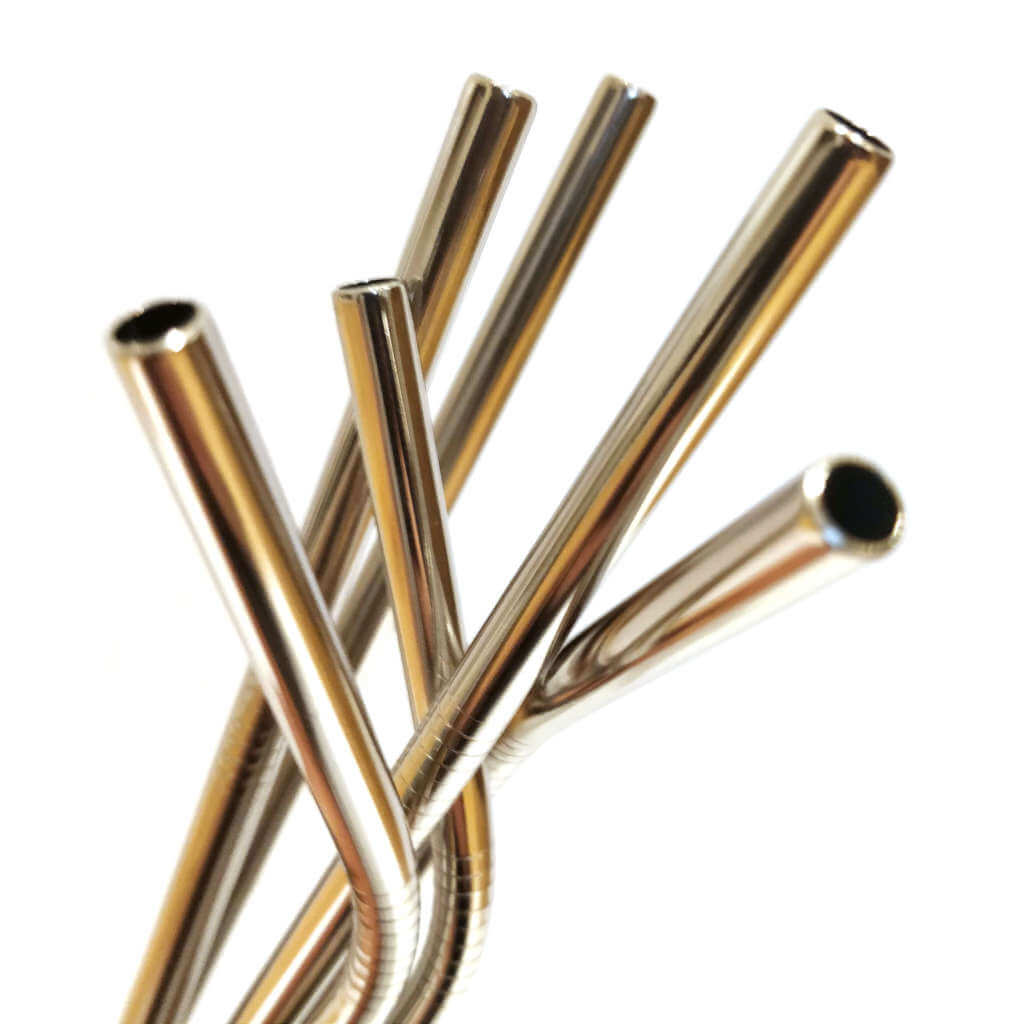Metal stainless steel reusable straw close up