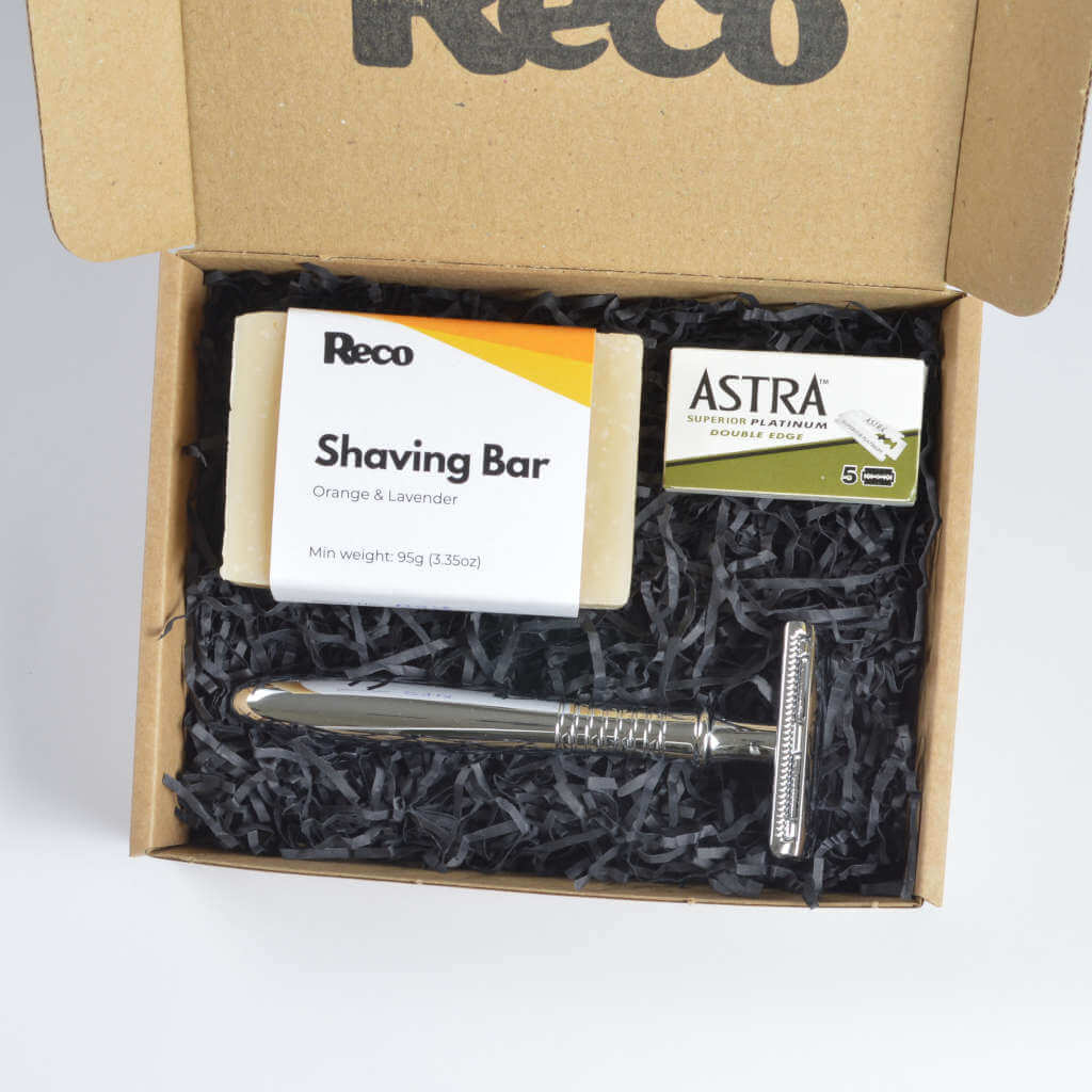 Reco 3R plastic free shaving kit in box vertical