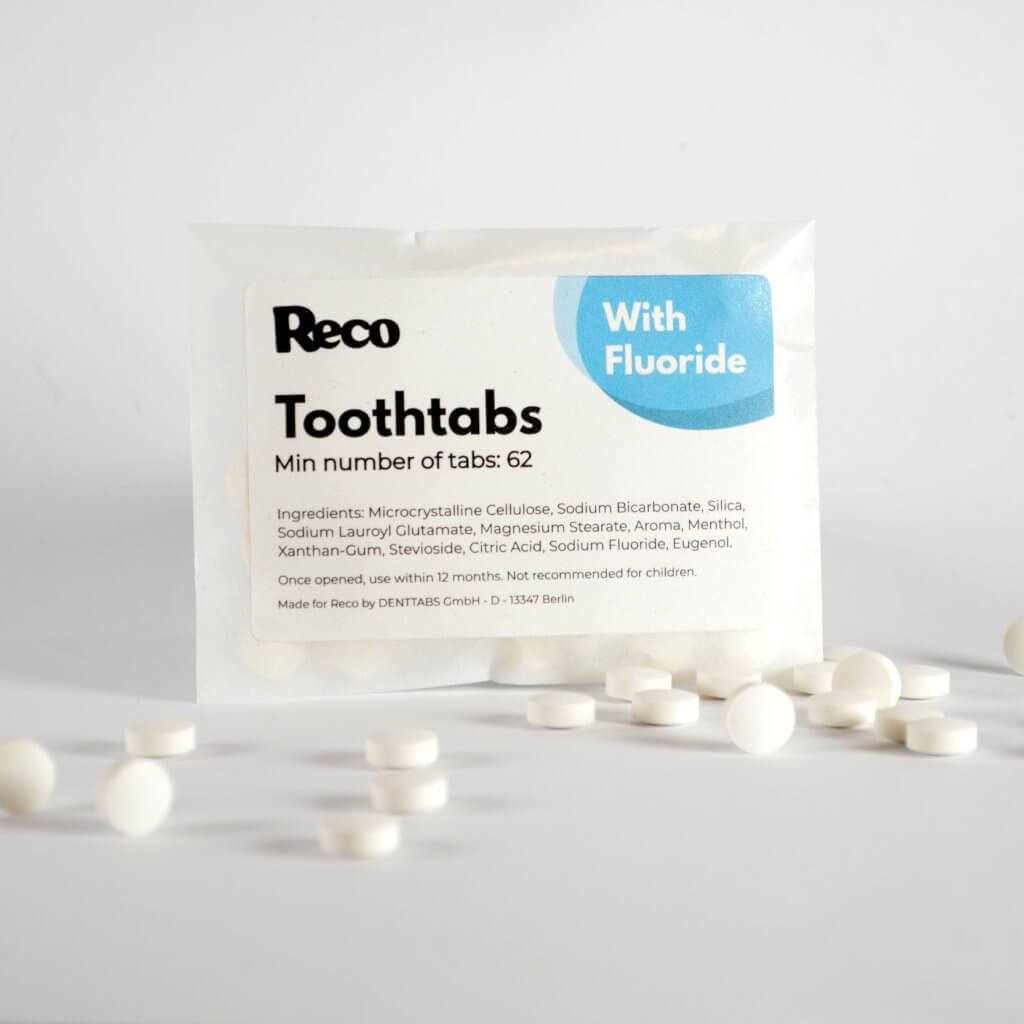 Reco Toothtabs - plastic free Toothpaste Tablets in packet standing up - Transparent