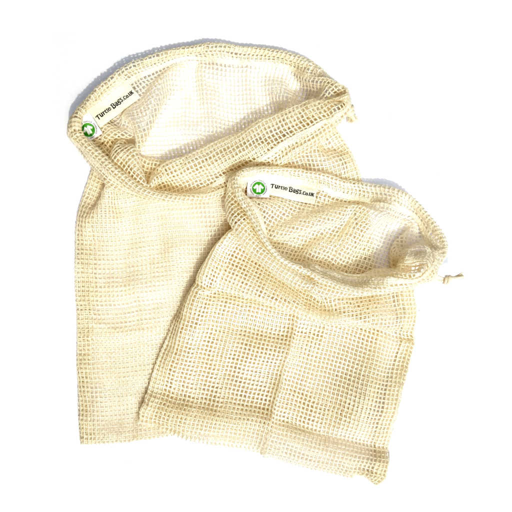 Turtle bag organic cotton drawstring produce bag large and small