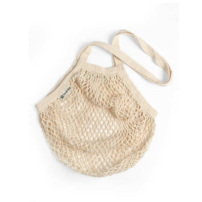 White Organic Cotton String Shopping Bag Long Handle Turtle Bags