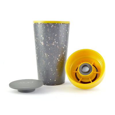 mustard and black rcup reusable coffee cup broken into component parts