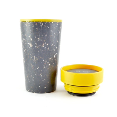 mustard and black rcup reusable coffee cup with with lid off