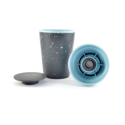 teal and black rcup reusable coffee cup broken into component parts