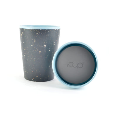 teal and black rcup reusable coffee cup with lid off