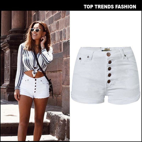 Women White Button Rolled Up High Waist Denim Shorts - Shorts