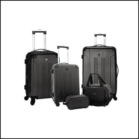 Travelers Club Chicago Spinner Luggage & Accessories Set 5 Piece - Black - Luggage