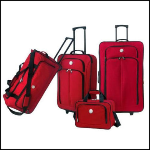 Travelers Club Euro Value II Deluxe Luggage Set 4 Piece - Red - Luggage