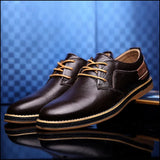 Casual Men Leather Dress Shoes For Business Office - Oxfords