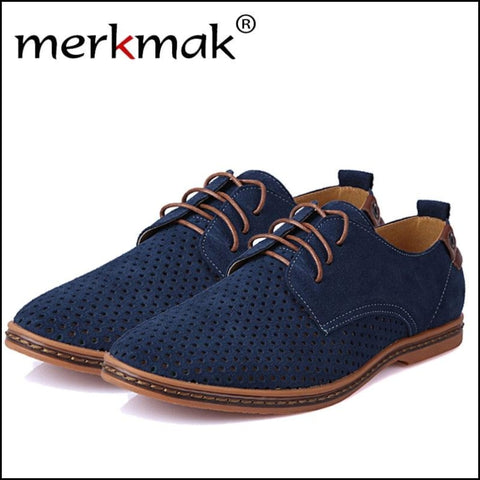 Leather Summer Breathable Holes Flat Shoes for Man - Oxfords