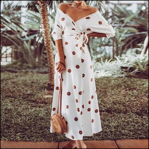 Polka Dot Print Deep V Neck Dress Women White Summer Long Sash Elegant Dress Bohemian Beach - Dresses