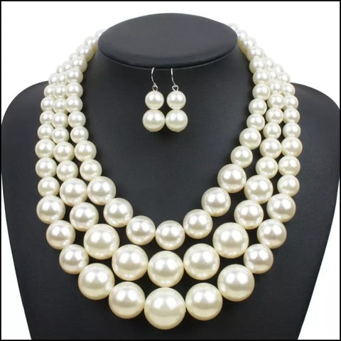 Pearl Jewelry Set Exaggerated Multilayer Handmade Beads collar- Mothers Day jewelry - Earrings & Necklace
