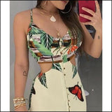 Tropical Print Cutout Summer Tank Women Dress - Dresses