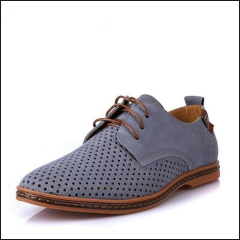 Breathable Suede Leather Shoes British Man Cut Outs Dress Shoes - Oxfords