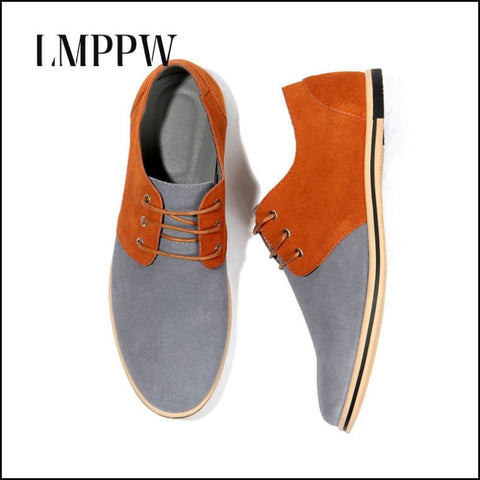Suede Leather Men Oxfords Casual Flat Shoes Breathable Moccasin - Mens Casual Shoes