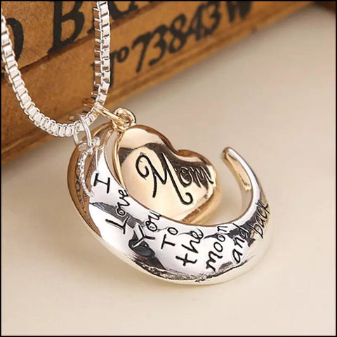 Mom Pendant to the moon and back Necklace Mother Day Gift - Pendant Necklaces