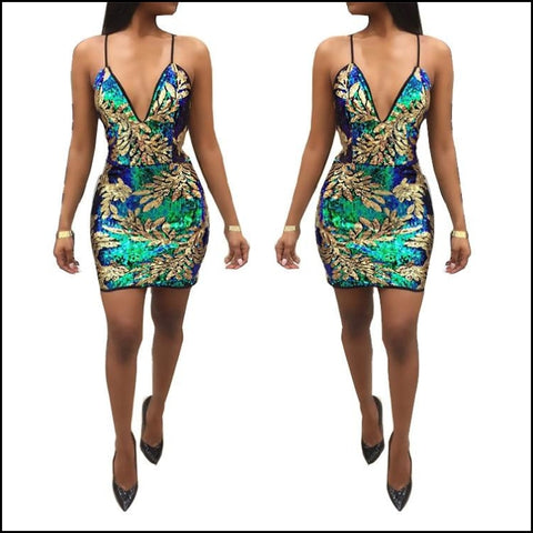 Autumn new European style womens sexy nightclub sequined dress - Dresses
