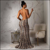 Spaghetti Straps Snake Print Sleevless Backless Casual Maxi Dress - Dresses
