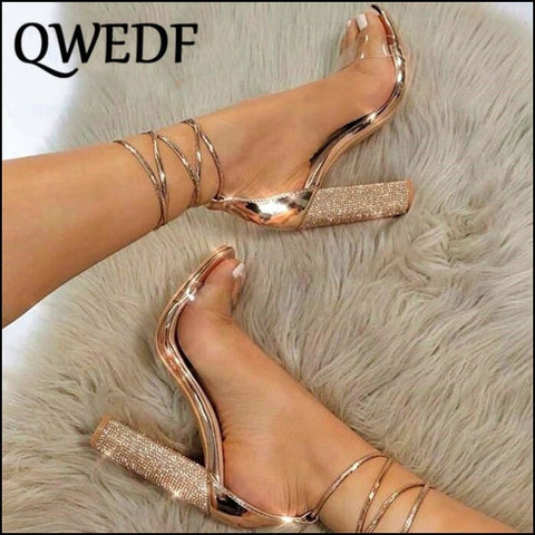 Women Heeled Sandals Bandage Rhinestone Ankle Strap Pumps - Womens Pumps