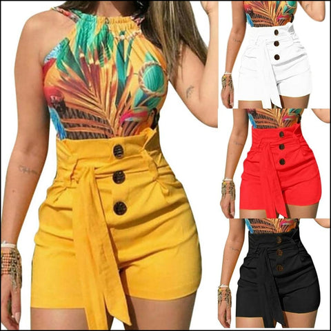 Ladies High Waist Casual Buttom Bandage Beach Hot Shorts - Shorts