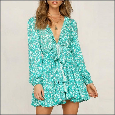 Flower print blue dress women Summer v neck lace up ruffle dresses elegant beach dress vestidos - Dresses