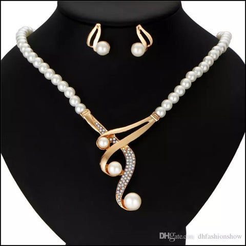 Luxury Bridal Jewelry w/ Crystal Beads Necklace- Mothers DAY - Earrings & Necklace