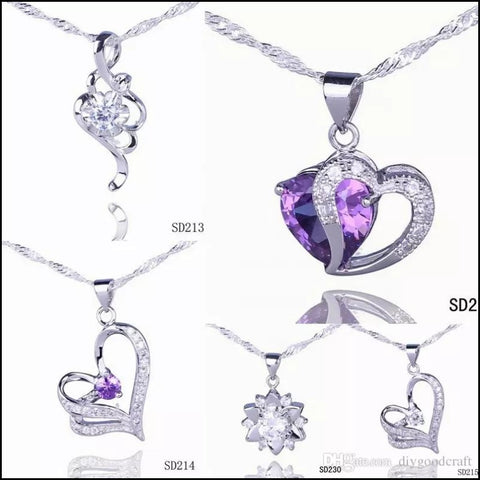 Silver Love Pendant Amethyst Crystal Charm Fit Necklace- 5pcs (mothers day) - Pendant Necklaces