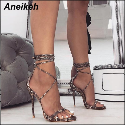 PU Lace Up Thin High Heels Cover Heel Shallow Mature Serpentine Dance Solid 35 40 - High Heels