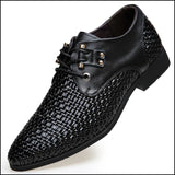 Formal Men Shoes Weaving Breathable Hollow Business Dress Shoes - Oxfords