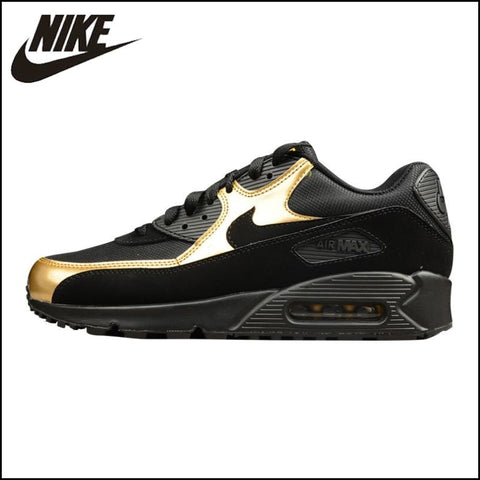 NIKE AIR MAX 90 ESSENTIAL Mens Running Shoes Outdoor Sneakers Shoes Black Gold - Running Shoes