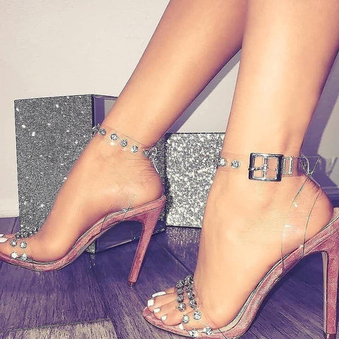 Invisible diamond laced high heels
