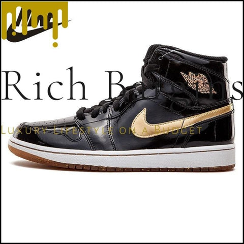 Nike Air Jordan1 Retro High OG Joe 1 Black Gold Patent Leather Mens Basketball Shoes Outdoor Sneakers - Basketball Shoes