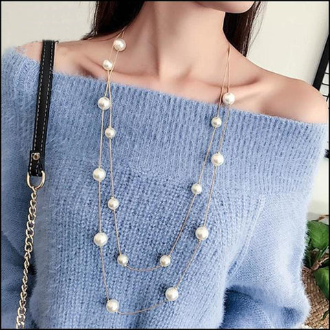 Long Double Layer Simulated Pearls Necklaces