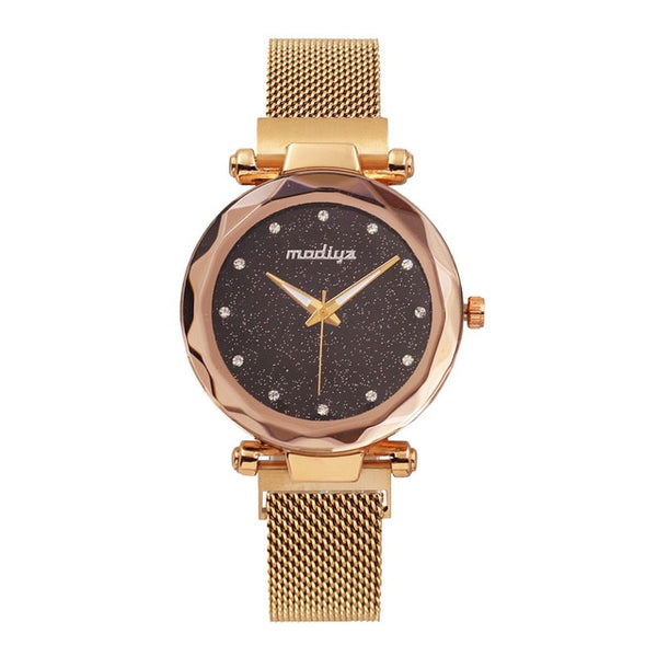 Diamond Rose Gold Starry Sky Magnetic Watch