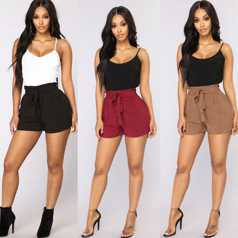 Women Beach Loose Short Lace Up Slim High Waist