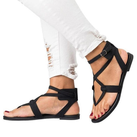 Buckle Ankle Strap Flat Women Sandals