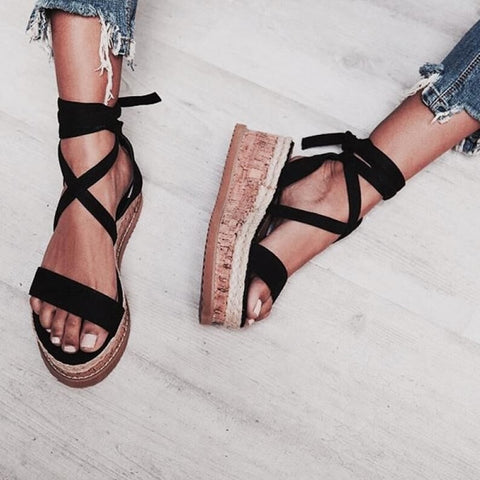 Ankle Strap Summer Peep Toe Lace Up Sandals