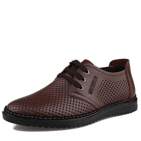 Soft Breathable Men Flat Leather Shoes