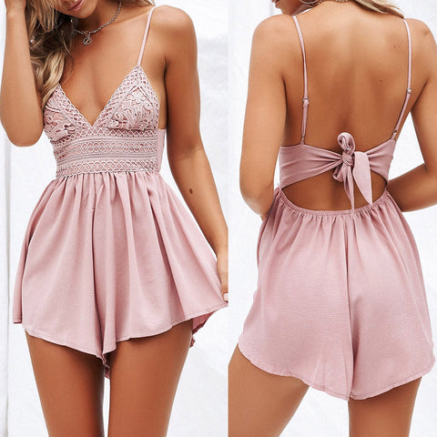 Lace backless playsuit romper