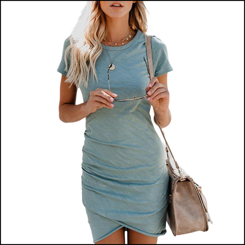 Summer Mini Dress Short Sleeve Solid Bodycon Slim Party Dress - Dresses
