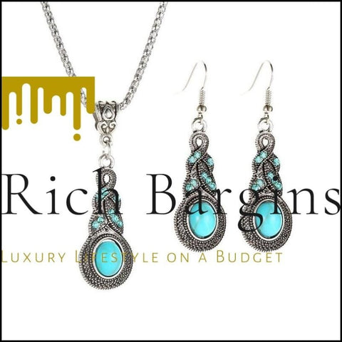 Vintage Crystal Turquoise Earrings Necklace Jewelry Set - GRAYISH TURQUOISE / 1 SET - Jewelry Sets