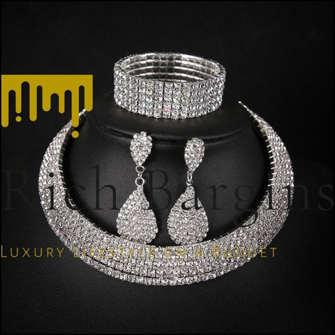 Full-Featured Multi-Layer Collar Set Necklace Drop Earrings Bracelet - SILVER / 1 SET - Jewelry Set