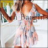 Sexy ruffled v neck women dress sleeveless summer sundress Bohemian floral print ladies short mini dress - Dresses